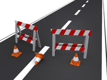 Road closed. Two construction barricades and traffic cones blocking the road (3d render Royalty Free Stock Photography