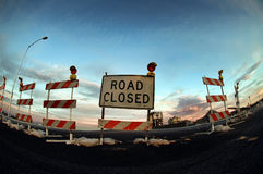 Road Closed. Sign and barricades royalty free stock image