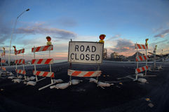 Road Closed. Sign and barricades stock photos