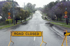 Road closed. Because of street flooding after heavy rain storms, Brisbane, Australia stock image