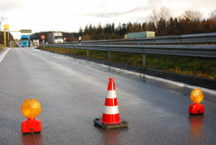 Road closed. At a highway exit in Bavaria, Germany Royalty Free Stock Photos