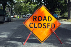 Road Closed. Road closure on an urban street Stock Images