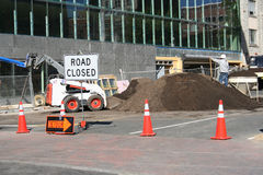 Road closed. Due to construction with worker Royalty Free Stock Image