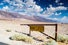 Road closed. Death valley national park,california,USA-august 3,2012: road closed in the death valley Royalty Free Stock Photo