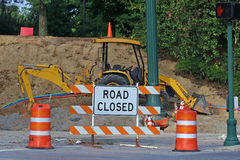 Road Closed 4. Road closed sign in front of construction Royalty Free Stock Photo