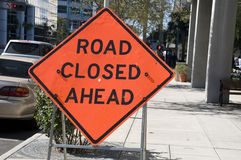 Road Closed Ahead Sign Royalty Free Stock Photography