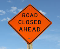 Road closed ahead sign Royalty Free Stock Photo