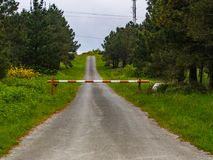 Road closed by barrier. In the field stock images