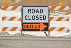 Road Closed Barrier Royalty Free Stock Photography