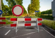 Road closed with barriers. For roadworks stock photos