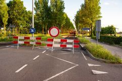Road closed with barriers. For roadworks royalty free stock photo