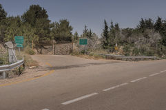 Road closed and blocked. Road  towards  the international border between Israel and Lebanon is closed and blocked  for a long time,  for security reasons Royalty Free Stock Images