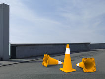 Road closed concept. 3D render illustration of a closed road. Multiple traffic cones are positioned on the road but some are knocked to the ground indicating Stock Images