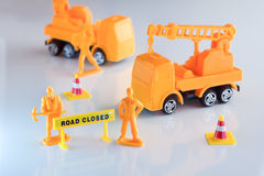 Road closed concept.jpg. Road closed concept toy object with signage on white floor.jpg Stock Photography