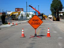 Road Closed Construction Stock Image
