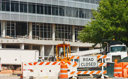 Road Closed at Construction Site Royalty Free Stock Photos