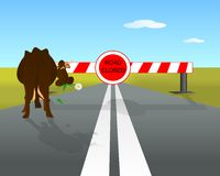 Road closed and cow, cdr vector Royalty Free Stock Photos