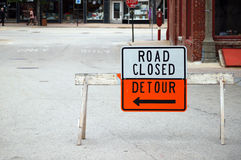 Road closed, detour Royalty Free Stock Images