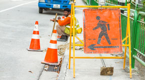 Road closed and detour signs at a downtown urban construction si Stock Photo