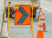 Road closed and detour signs at a downtown urban construction si stock photography