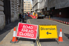Road closed diversion sign Stock Photo