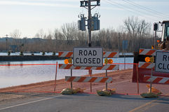 Road Closed Due to Flooding Royalty Free Stock Photo