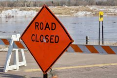 Road Closed Due to Flooding royalty free stock photos
