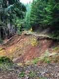 Road Closed Due To Landslide in Oregon. Road closed in the Umpqua National Forest of Oregon because of a large landslide that took out this forest service BLM Stock Image