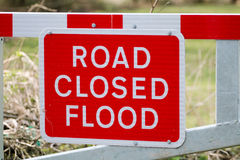 Flood Road Closed Warning Sign on Barrier Stock Photography