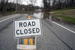 Road closed from flooding. A road closed sign in the middle of a roadway in Oakville near St. Louis, Missouri Royalty Free Stock Photo