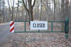 Road Closed Green Gate Roadblock Stock Images