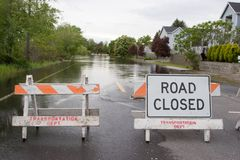 Road Closed Horizontal Flooded Street Royalty Free Stock Photo