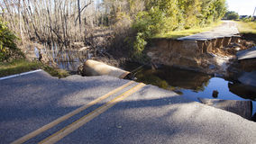 Road closed after Hurricane Matthew Stock Images