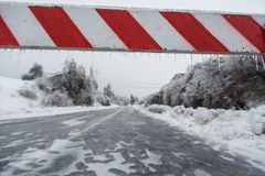 Road closed for ice Stock Image
