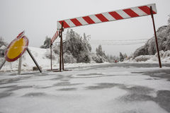 Road closed for ice Royalty Free Stock Photography