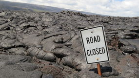 Road Closed by Lava Royalty Free Stock Photos