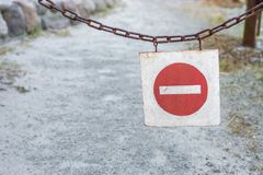 Shield as a sign of barriers or blockages stock photo