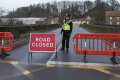 Road Closed. Police close a road over a bridge - Malton in North Yorkshire - England Royalty Free Stock Photos