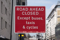 Road closed roadsign. A large 'Road ahead closed' UK roadsign Royalty Free Stock Photography