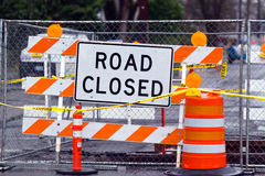 Road closed sign щт striped turnstile Royalty Free Stock Photography