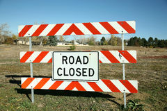 Road Closed Sign. At the entrance to a field Stock Photography