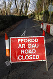 Road Closed sign. With cones and barrier royalty free stock photography