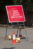 Road closed sign. A UK Highways 'Road closed' sign Stock Photography