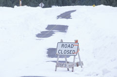 A road closed sign. In the snow Stock Photography