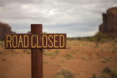 Road Closed Sign. In Monument Valley, Utah with no road in sight Royalty Free Stock Image