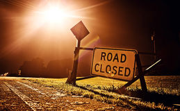 Road closed sign. At night before the road construction Royalty Free Stock Images