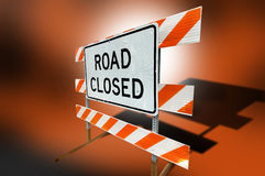 Road closed sign. Orange and white road closed sign Royalty Free Stock Images