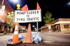 Road closed sign. Road closed to thru traffic sign, USA Stock Photos
