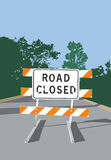 Road Closed Sign. Vector artwork of a road barricade and Road Closed sign Royalty Free Stock Photo