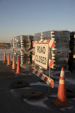 Road closed sign across a Florida road Stock Image